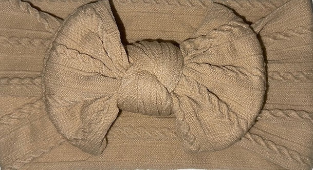 Beige Cable Knit Bow Headband