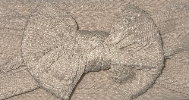 Sand Cable Knit Bow Headband