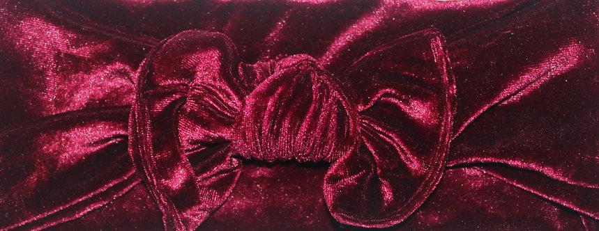 Deep Red Velvet Bow Headband