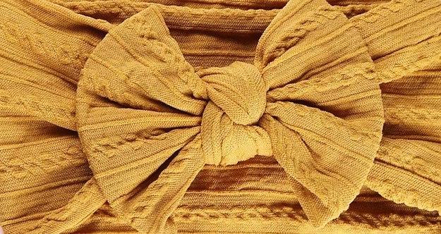 Mustard Cable Knit Bow Headband