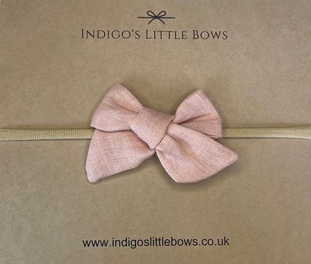 Dusty Pink Linen Dainty Bow Headband