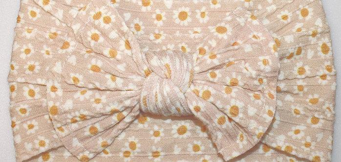 Daisy Cable Knit Bow Headband