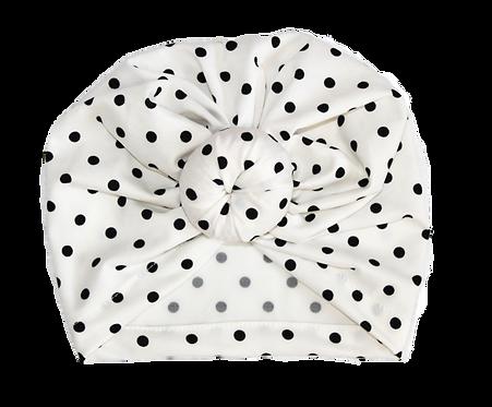Black And White Polka Dot Donut Turban