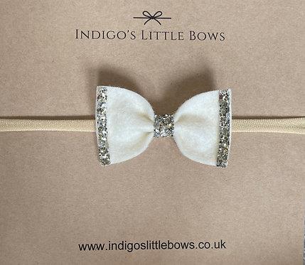 Cream With Glitter Dainty Bow Headband