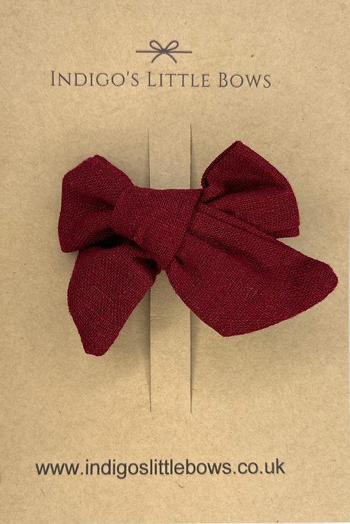 Deep Red Linen Bow Clip