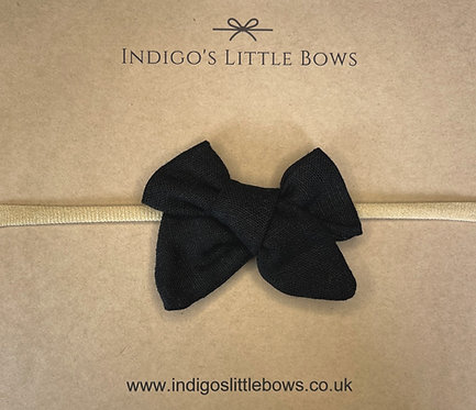 Black Linen Dainty Bow Headband