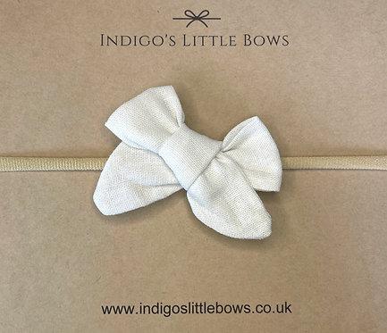 White Linen Dainty Bow Headband