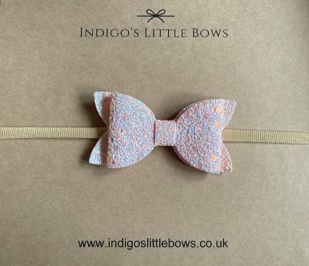 Glittery Pink Dainty Bow Headband