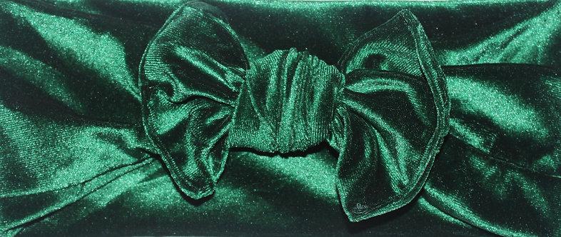 Green Velvet Bow Headband