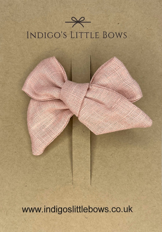 Dusty Pink Linen Bow Clip