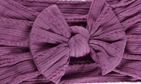 Violet Cable Knit Bow Headband