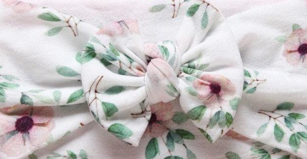 Elegant White Floral Bow Headband
