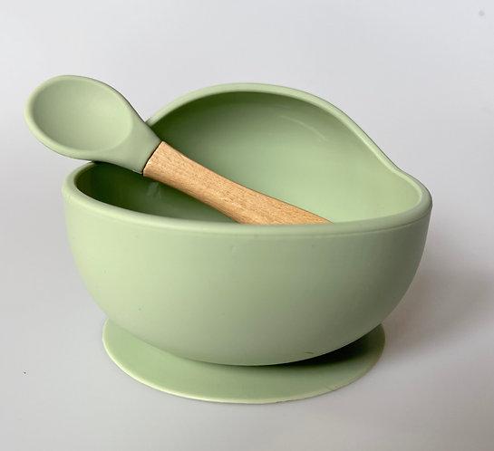 Silicone Bowl & Spoon Set | Sage