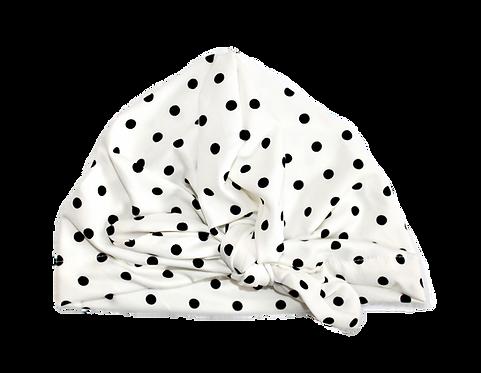 Black And White Polka Bow Knot Turban