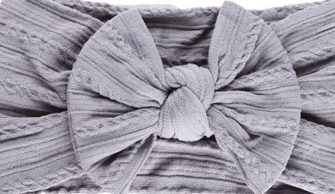 Stone Grey Cable Knit Bow Headband