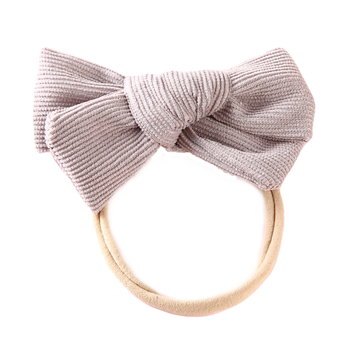 Grey Corduroy Bow Headband