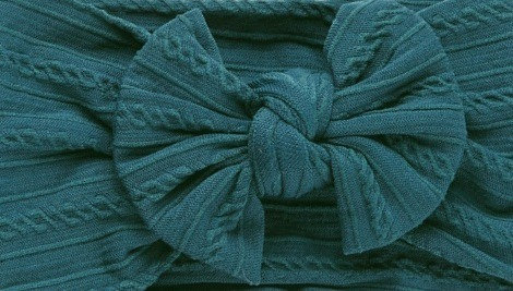 Teal Cable Knit Bow Headband