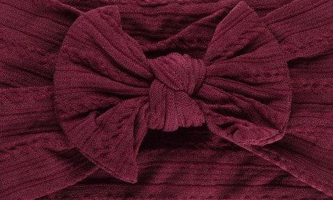 Burgundy Cable Knit Bow Headband