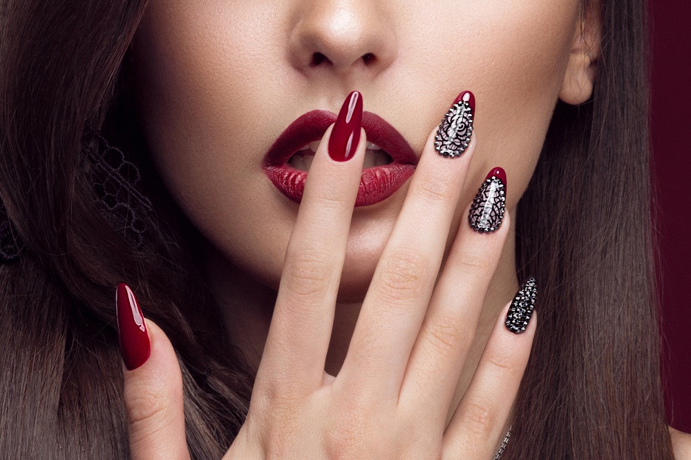 Lady with Dark Red Nails