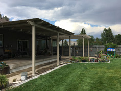 Shade Select and Standard Vinyl Pergola Side by Side