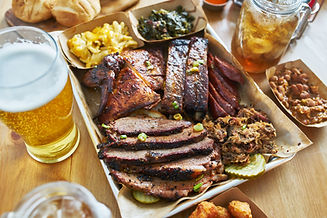 texas style bbq tray with smoked brisket