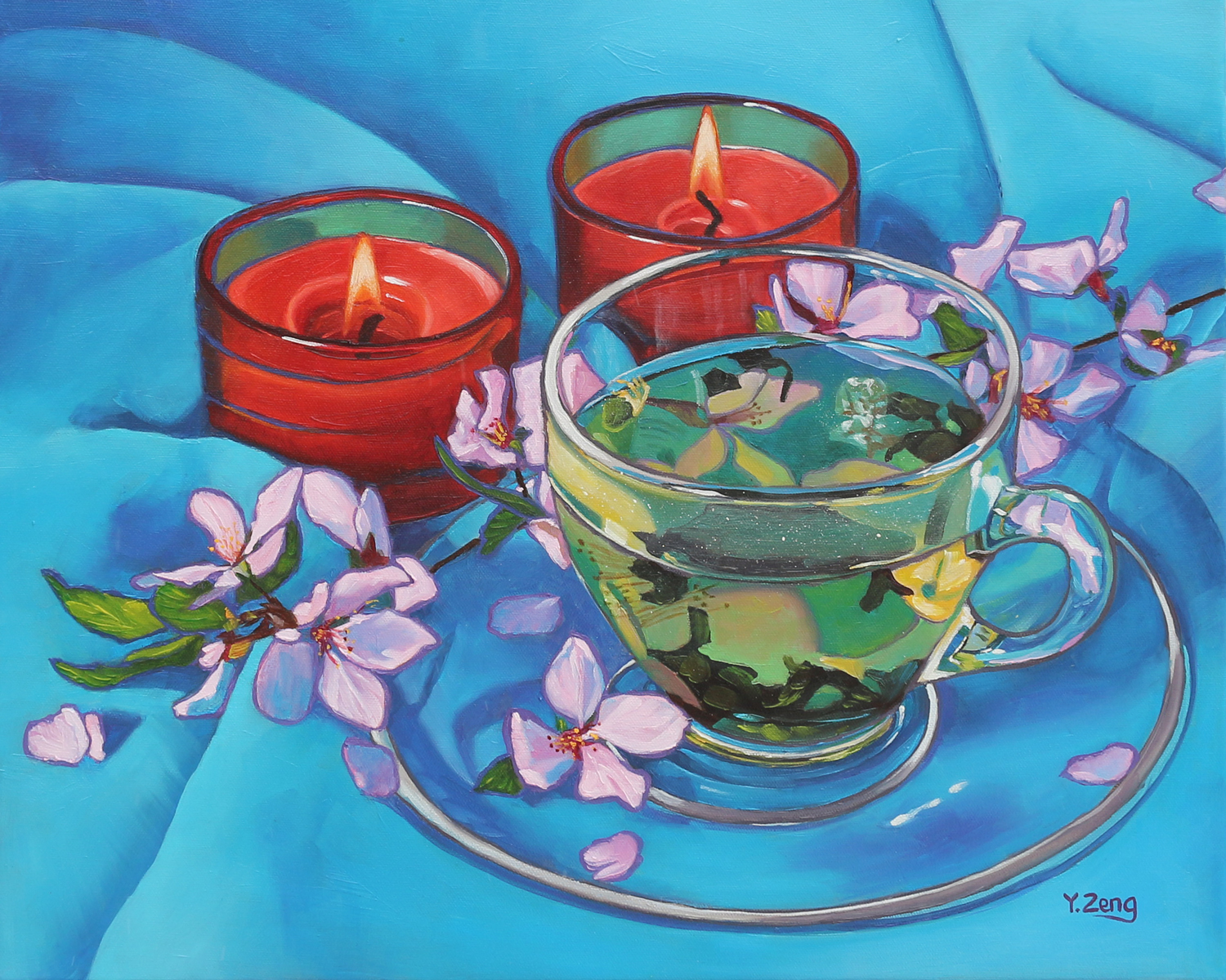 Cherry blossom tea and candles