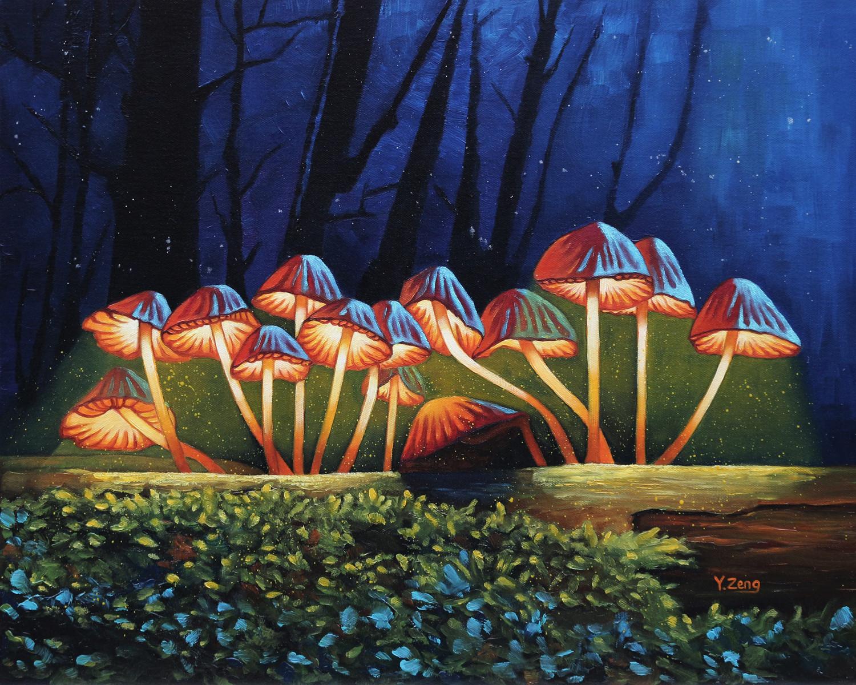 Night light glowing mushrooms