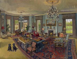 Drawing room with two Labradors