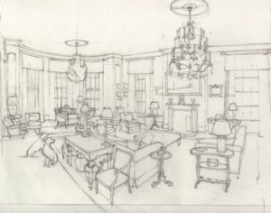 Drawing of a Berkshire Drawing Room