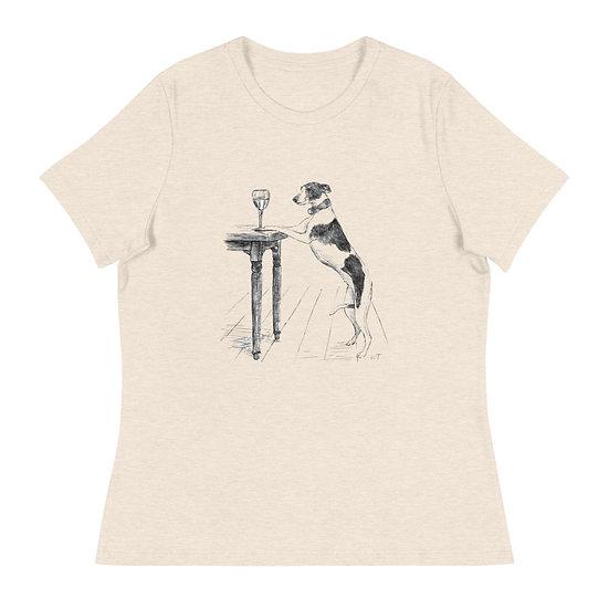 Whippet Wine Glass Women's Relaxed T-Shirt