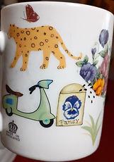 Hand decorated mug using decals