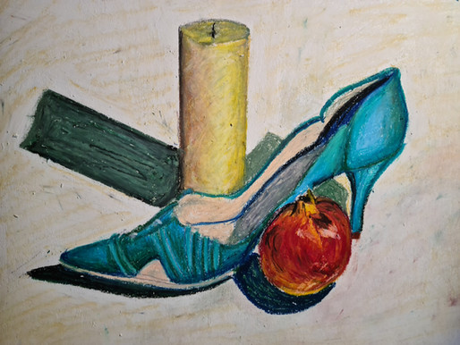 Still life with oil pastels