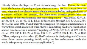 Update: Warrantless Blood Search and Burden Shifting