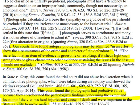 Admissibility of Autopsy Photos (SCRE 403)