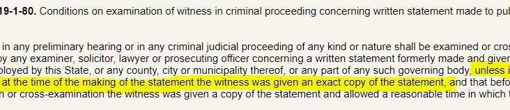Written Statement Requirement in Criminal Proceeding