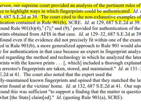 Authenticating Fingerprints: SCRE 901