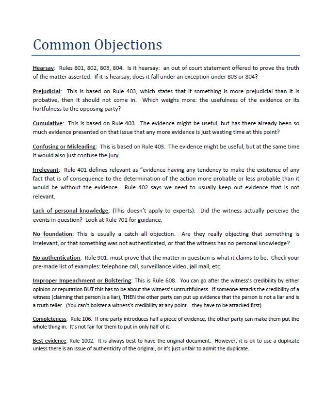common objections in trial