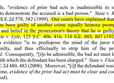 Why prior bad acts/propensity is usually not allowed in (SCRE 404)