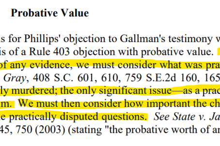 Is the evidence probative under 403?  Consider this question