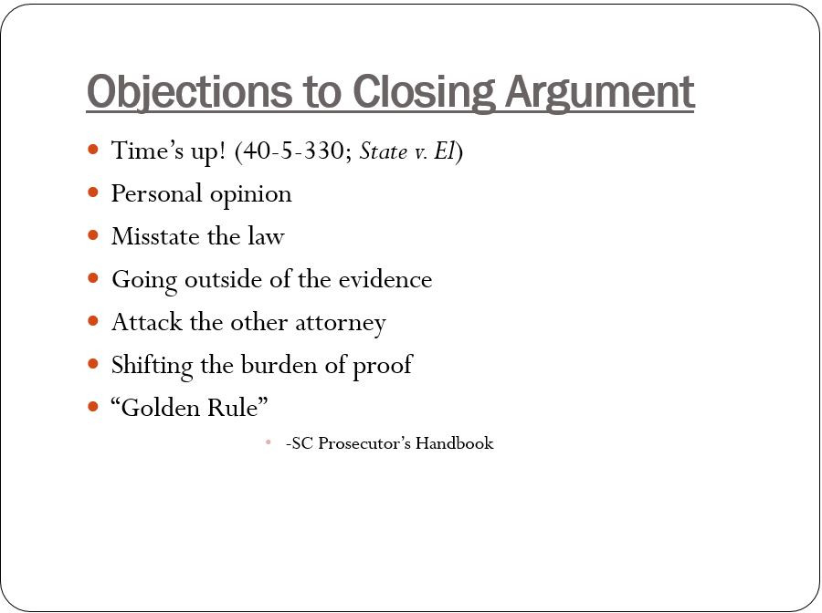 objections to closing argument