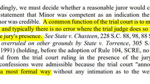 "How should judge rule on evidence in front of jury: ""in a most formal way"""