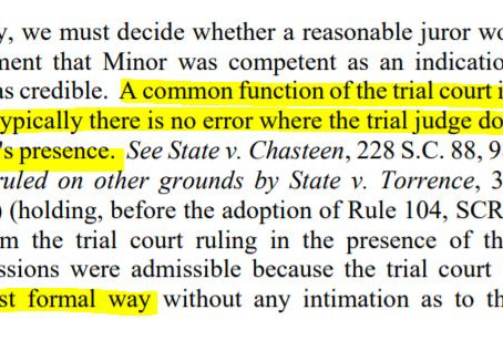 """How should judge rule on evidence in front of jury: """"in a most formal way"""""""