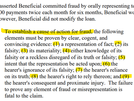 Elements for a cause of action for fraud