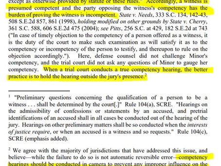 SCRE 601: Competency Hearings