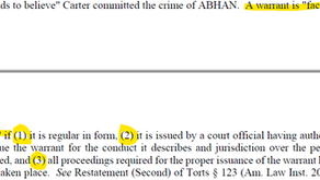 Facially Valid Warrant Requirements