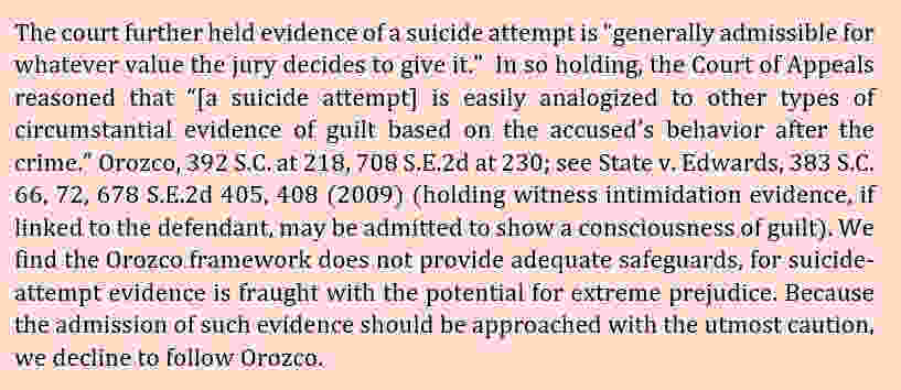 suicide attempt as evidence