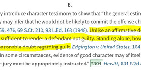 Can character evidence ever be an affirmative defense?