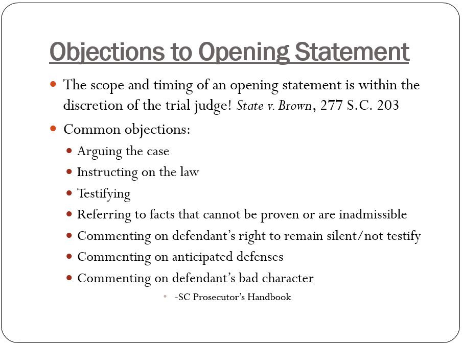 objections to opening statement