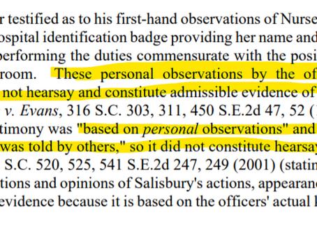 Hearsay, SCRE 701, and Statutory Interpretation