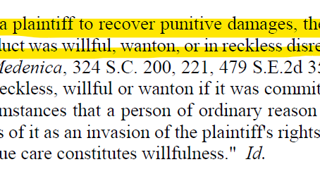 Punitive Damages: willful, wanton, malicious, or reckless